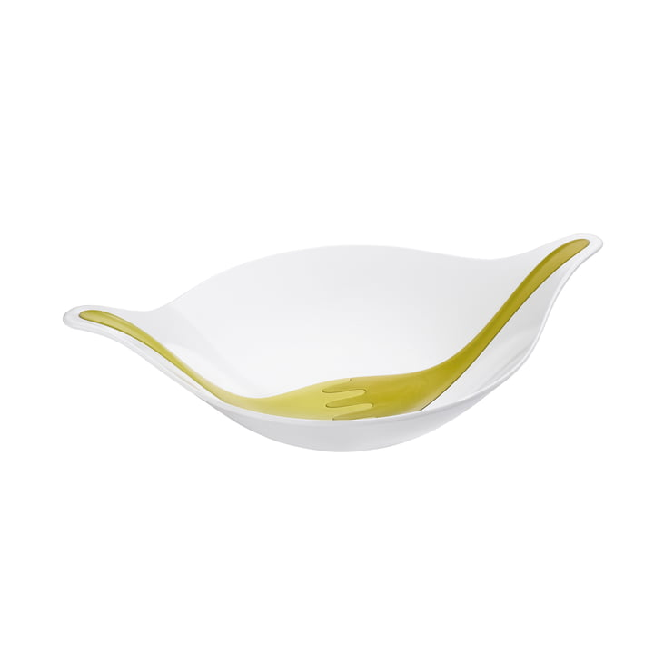 Koziol - Leaf salad bowl with server, 3 L, olive / green mustard