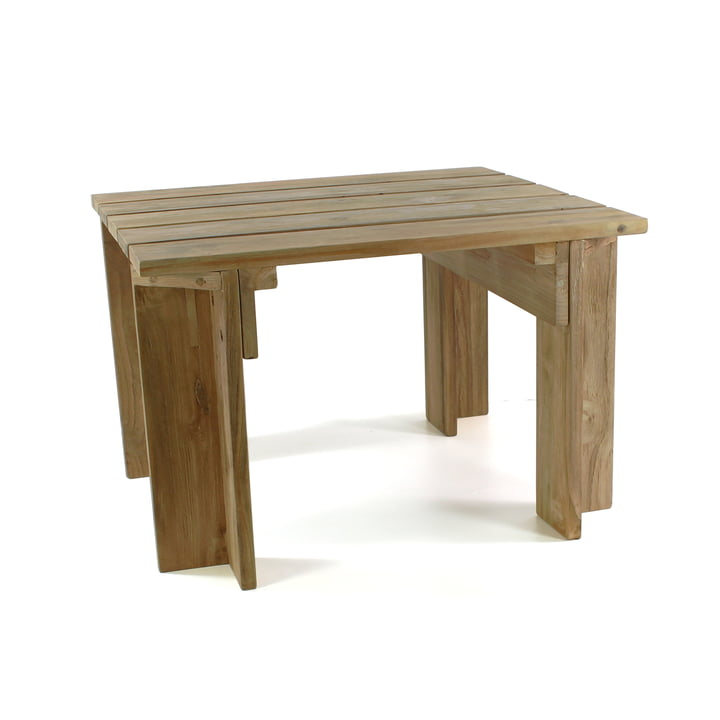 Batten Beach side table by Jan Kurtz in natural teak wood