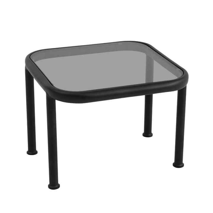 Square Dock table by Emu in black with smoky grey glass