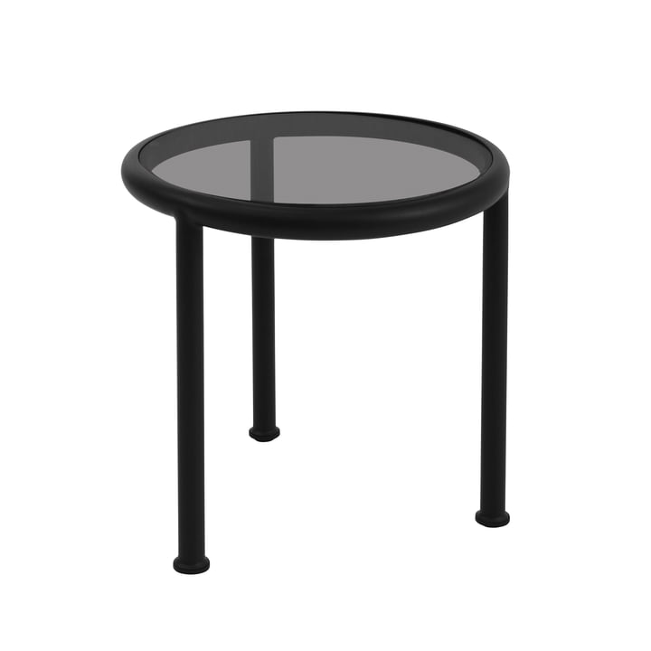 Round Dock table by Emu in black with smoky grey glass