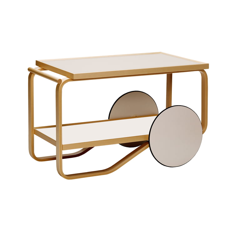 901 serving trolley by Artek in birch / cream / white (Hella Jongerius Edition)