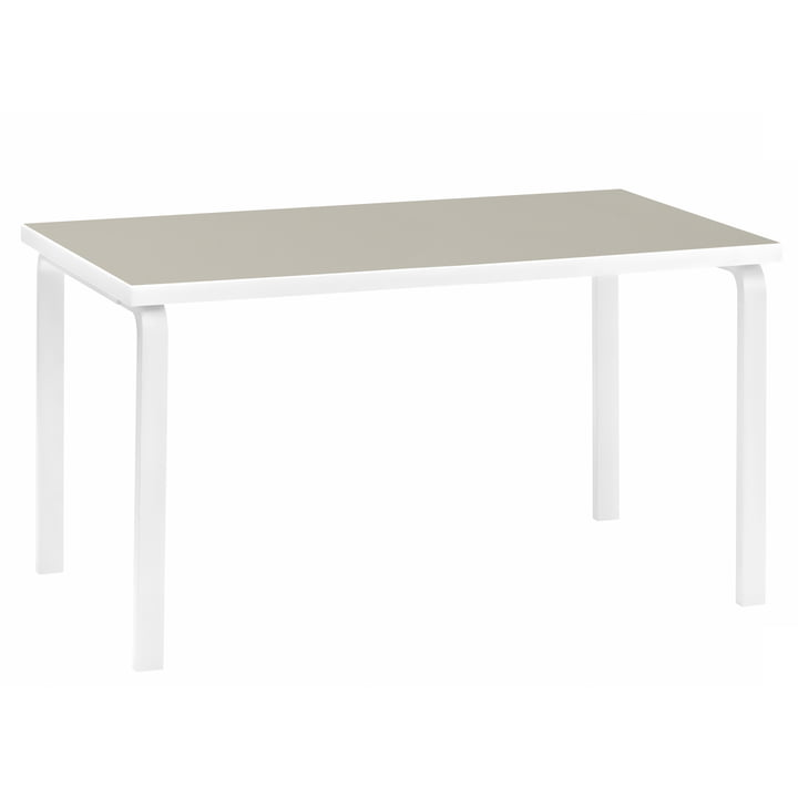 81A Table by Artek in Stone-White lacquered / Linoleum Pebble
