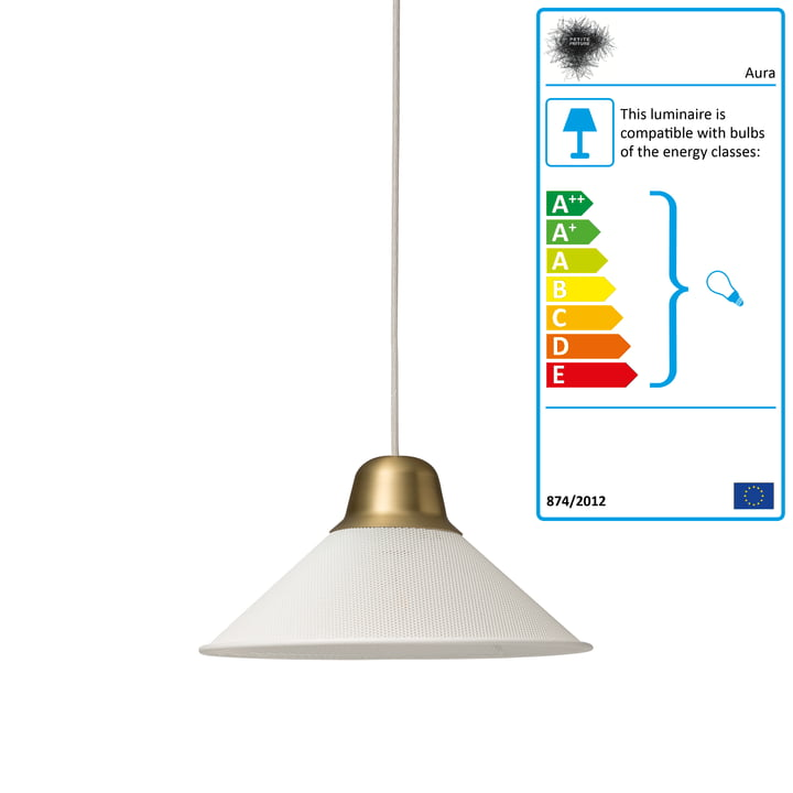 Aura pendant lamp, small by Petite Friture in white / brass
