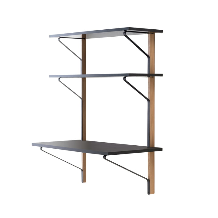 REB 010 Kaari wall shelf with desk 100 cm by Artak in black / natural oak