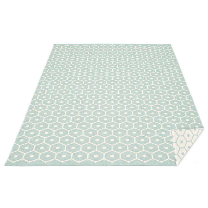 Honey Reversible Rug 180 x 260 cm by Pappelina in Pale Turquoise / Vanilla