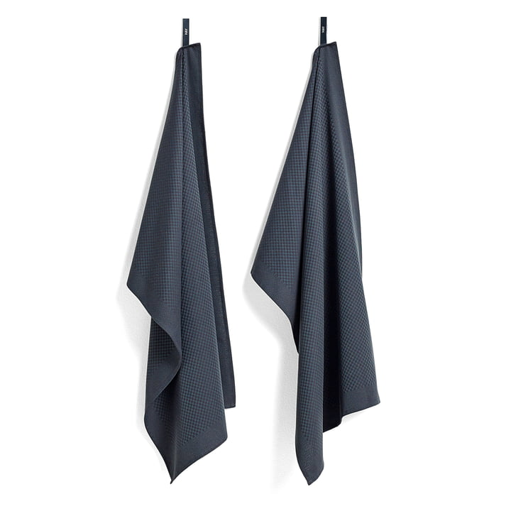Tea Towels by Hay in Check / Green (Set of 2)