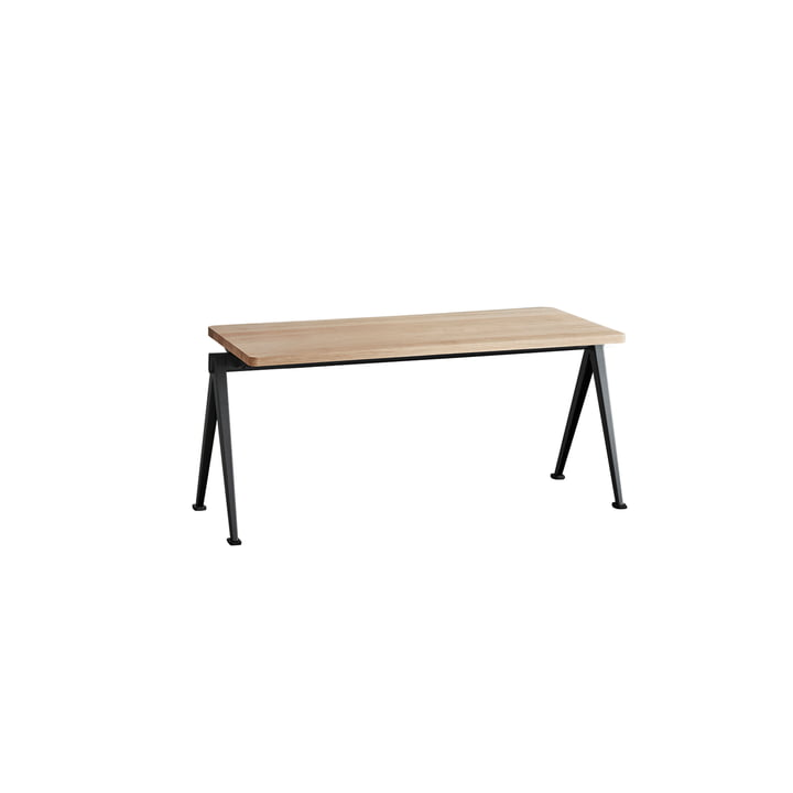 Pyramid Bench 85 cm by Hay in Black / Matt Lacquered Oak