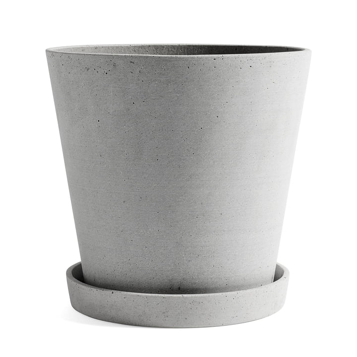 Flowerpot with Saucer XXL by Hay in Grey