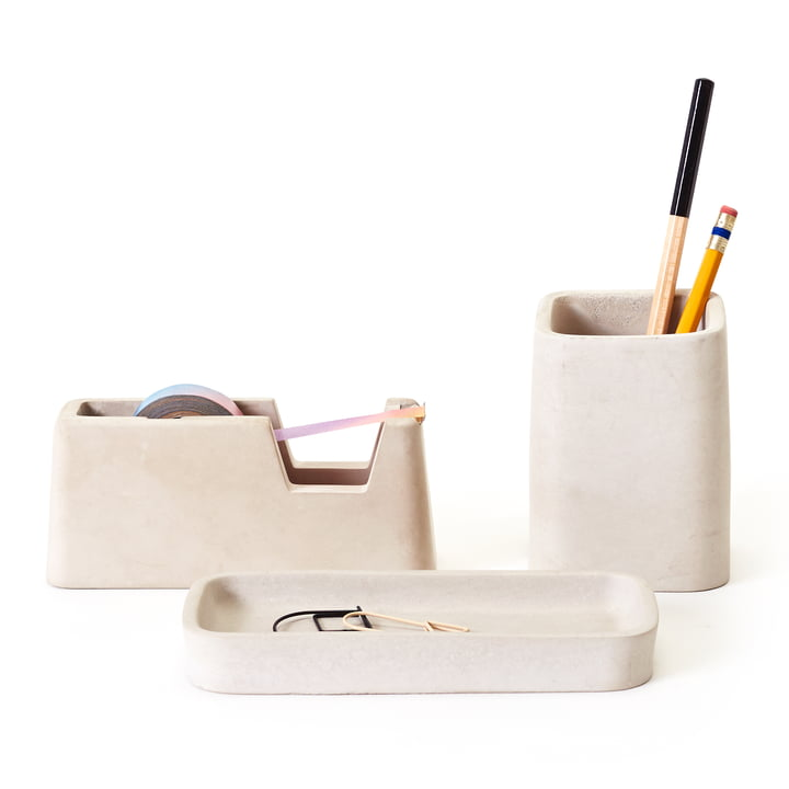 Concrete Desk Set by Areaware in Grey (set of 3)