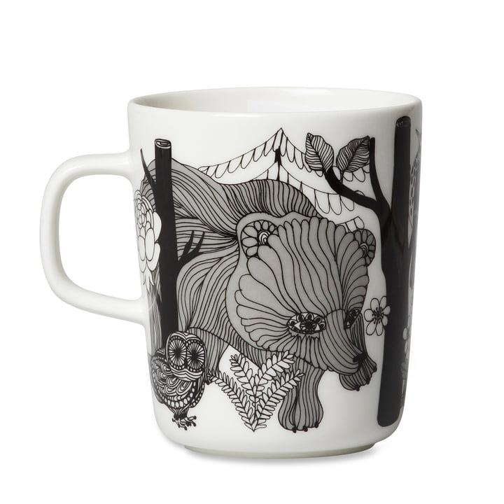 The Marimekko - Oiva Veljekset mug with handle, 250 ml in white / black / blue.