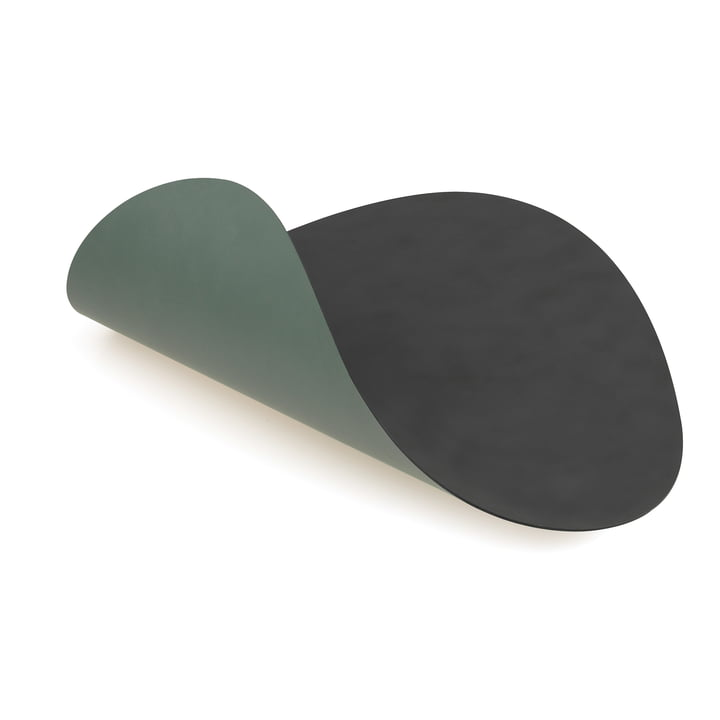 LindDNA - Place Mat Curve L Double in anthracite Cloud / pastel green Nupo (2 mm)
