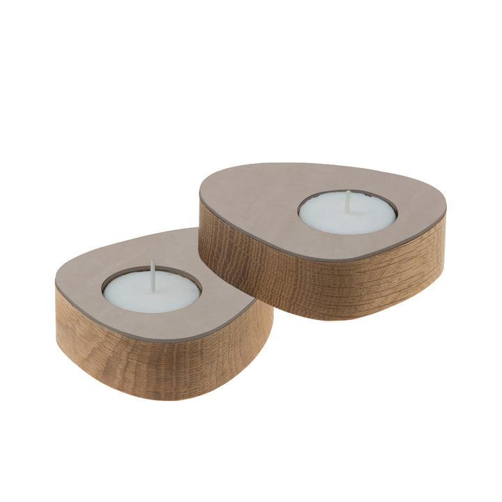 Curve Tea Light Holder by LindDNA in Oak / Light Grey Nupo (set of 2)