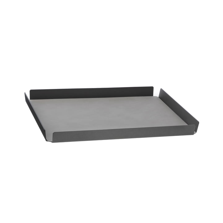 LindDNA - Tray Square M , 28 x 36 cm, aluminium anthracite, Double Nupo anthracite / Nupo light grey (2 mm)
