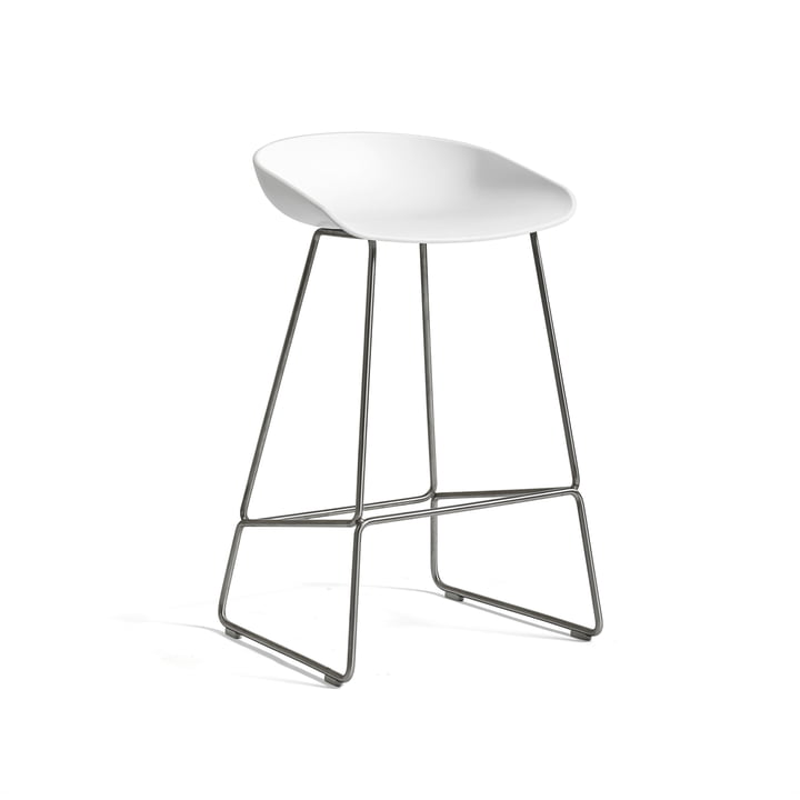 Hay - About A Stool AAS 38 bar stool, H 76, stainless steel / white