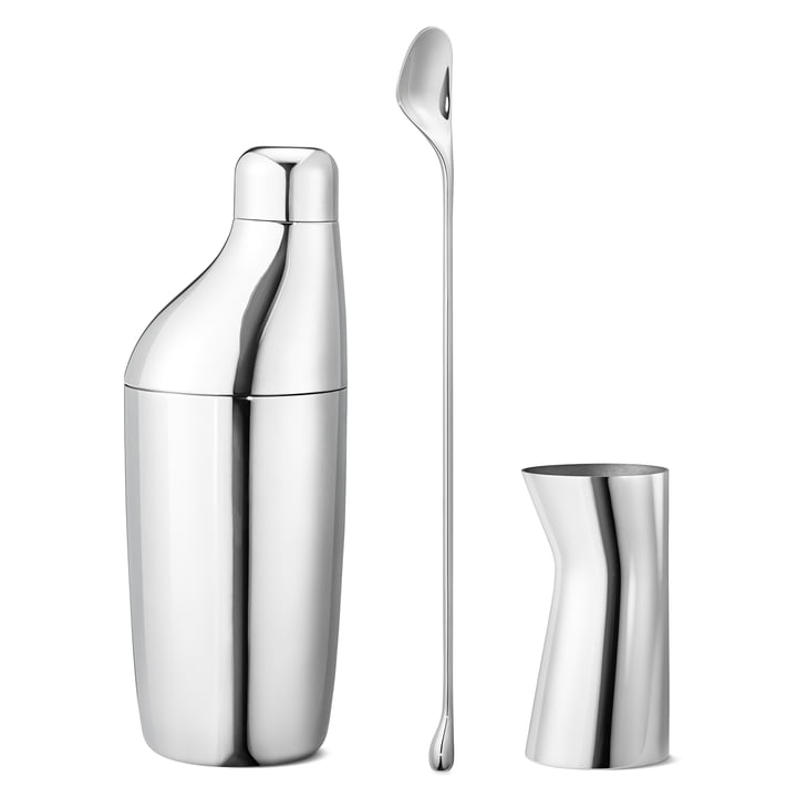 Georg Jensen - Sky Cocktail Gift Set: Shaker, Mixing Spoon & Measuring Cup, stainless steel