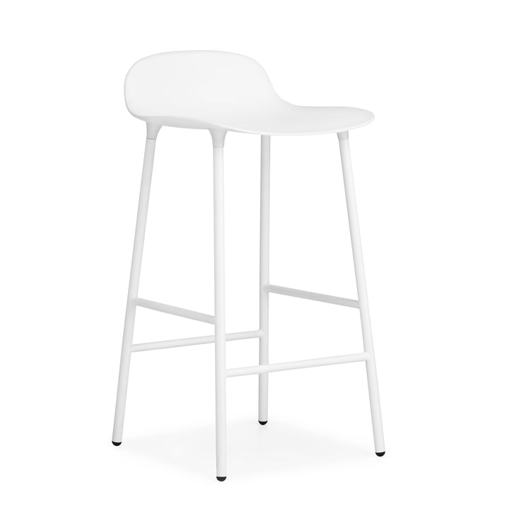 Form bar stool (65 cm) by Normann Copenhagen in white with steel frame