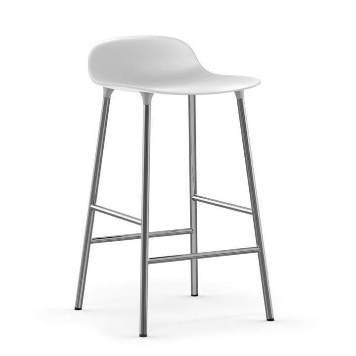 Form bar stool 65 cm frame chrome by Normann Copenhagen in white