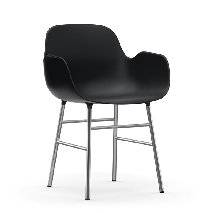 Form Armchair Chrome frame by Normann Copenhagen in black