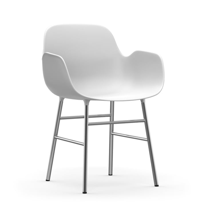 Form Armchair Chrome frame by Normann Copenhagen in white
