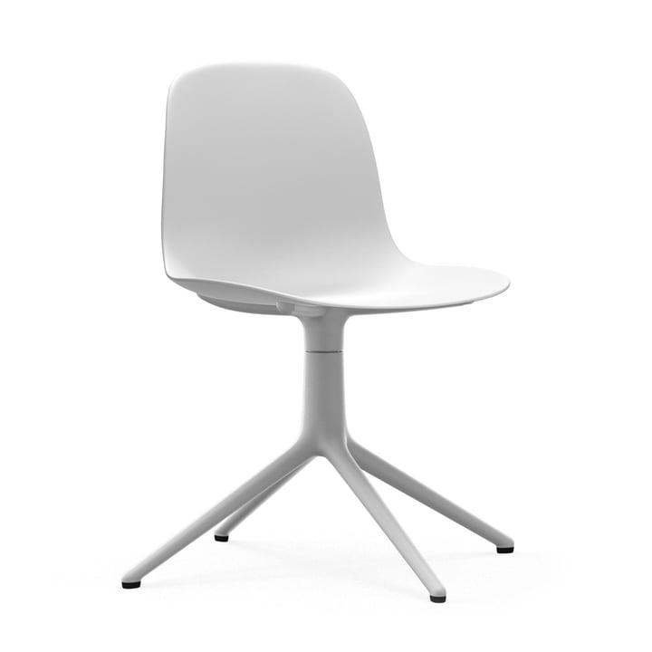 Form swivel chair by Normann Copenhagen in aluminium white / white