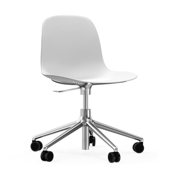 Form Swivel Office Chair by Normann Copenhagen in White / Aluminium