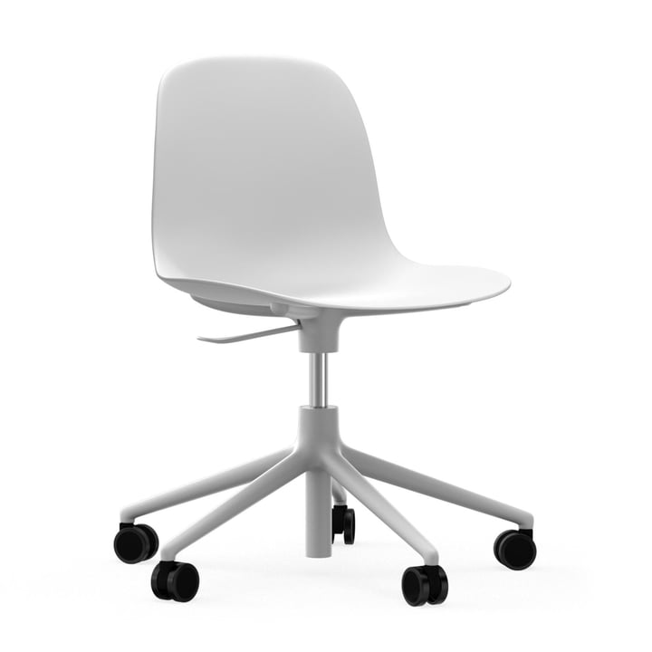 Form Swivel Office Chair by Normann Copenhagen in White / White Aluminium