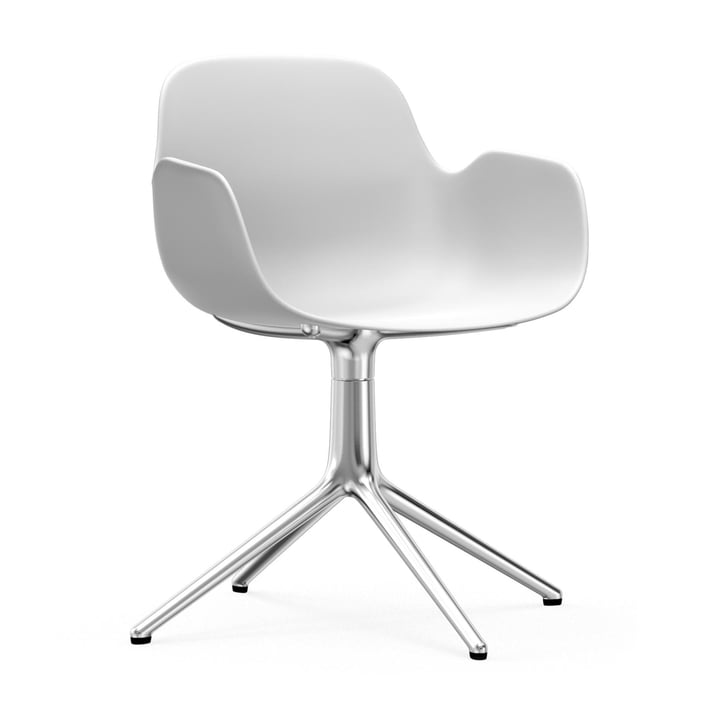 Form swivel chair by Normann Copenhagen in aluminium / white
