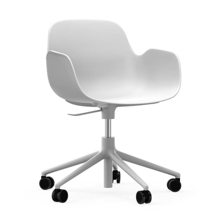Form office swivel chair by Normann Copenhagen in aluminium white / white