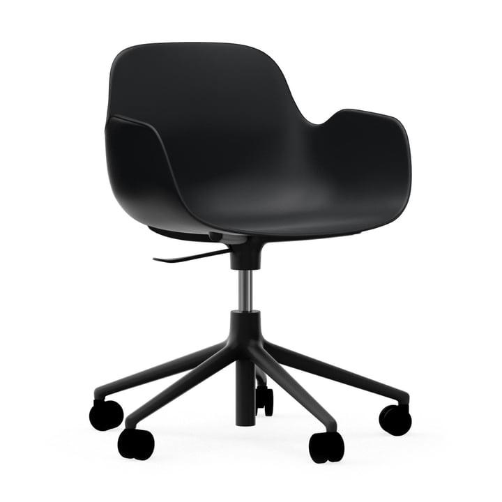 Form office swivel chair by Normann Copenhagen in aluminium black / black