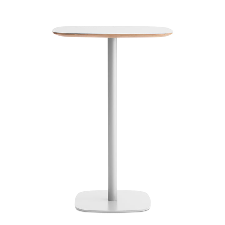 Form bar table 70 x 70 x 104,5 cm by Normann Copenhagen in white with oak frame