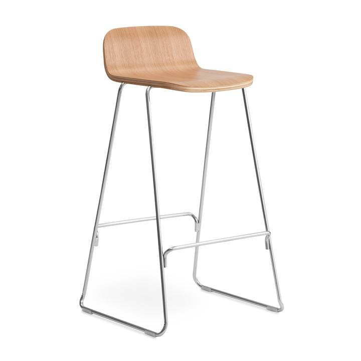 Just bar stool with backrest H 75 cm by Normann Copenhagen in oak nature / chrome