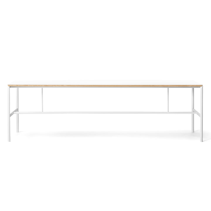 Million - Mies dining table 200 x 90 cm, white / laminate white (oak veneer edge)