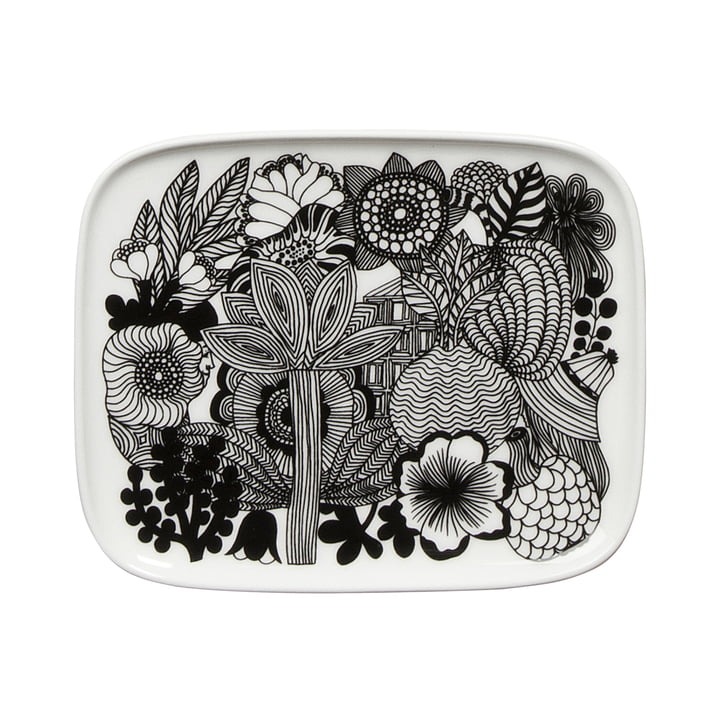 Siirtolapuutarha Serving Plate 15 x 12 cm by Marimekko in black / white