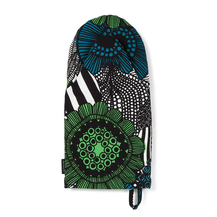Siirtolapuutarha Oven Glove by Marimekko in green / black / white