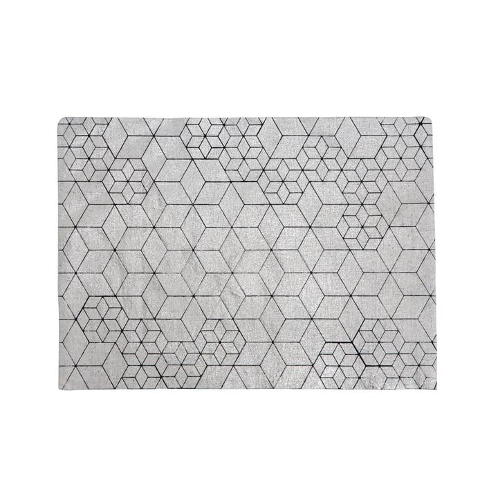 Mika Barr - Tin Placemat, 50 x 40 cm, silver / black