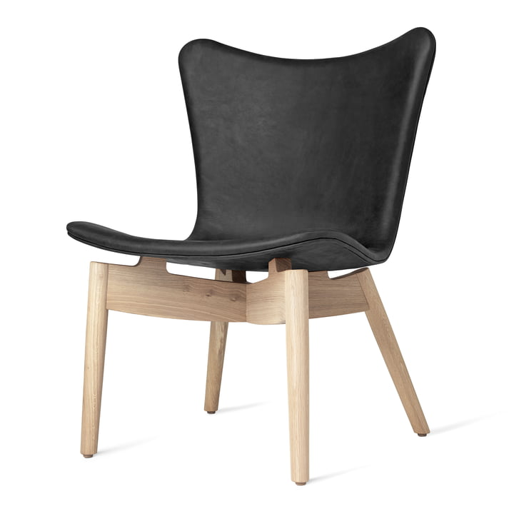 Shell Lounge Chair by Mater made of lacquered matt oak and anthracite black Dunes leather
