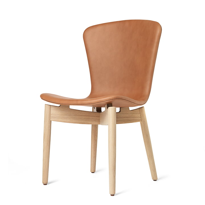 Shell Dining Chair by Mater in Matt Lacquered Oak / Ultra Brandy Leather