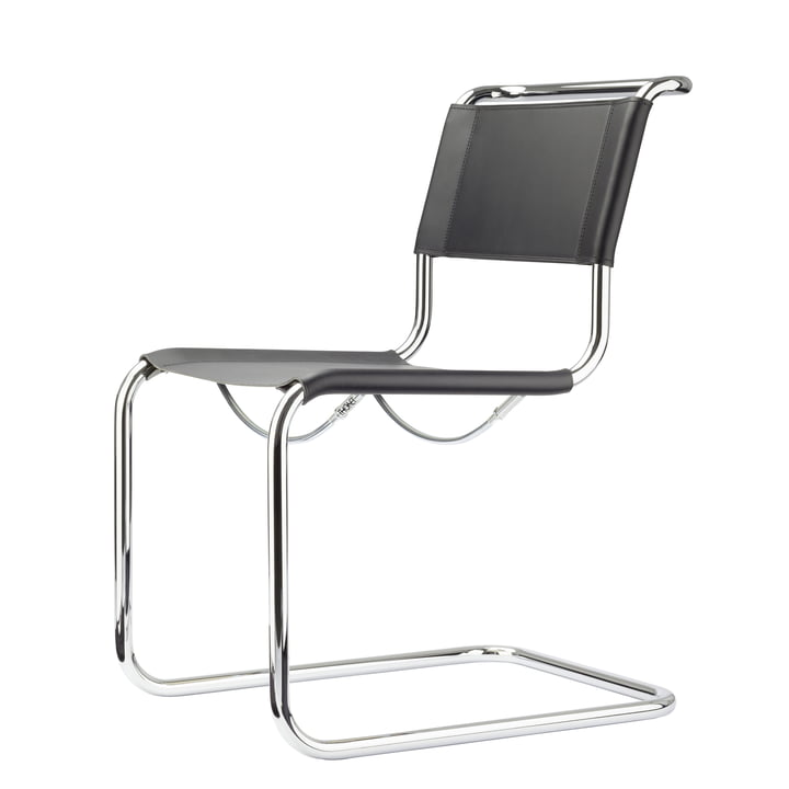 S 33 Chair by Thonet in Chrome / Core Black Leather