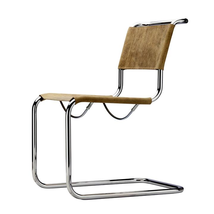 Thonet - S 33 Chair, chrome / brown buffalo leather
