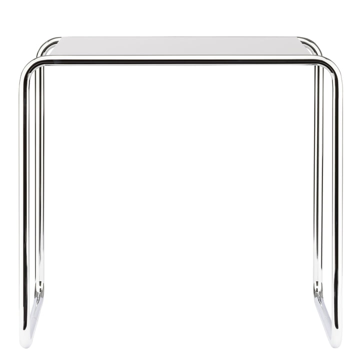 B 9 c Nesting Table by Thonet in Chrome / Pure White (RAL 9010)