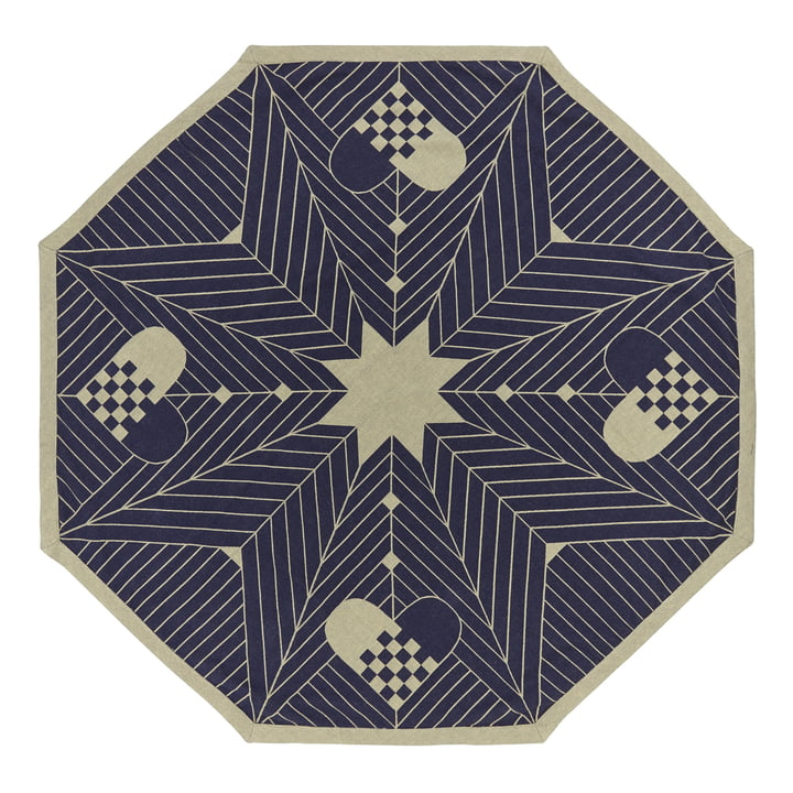 Octagon Christmas tree carpet 130 x 130 cm by Georg Jensen Damask in Blue Gold