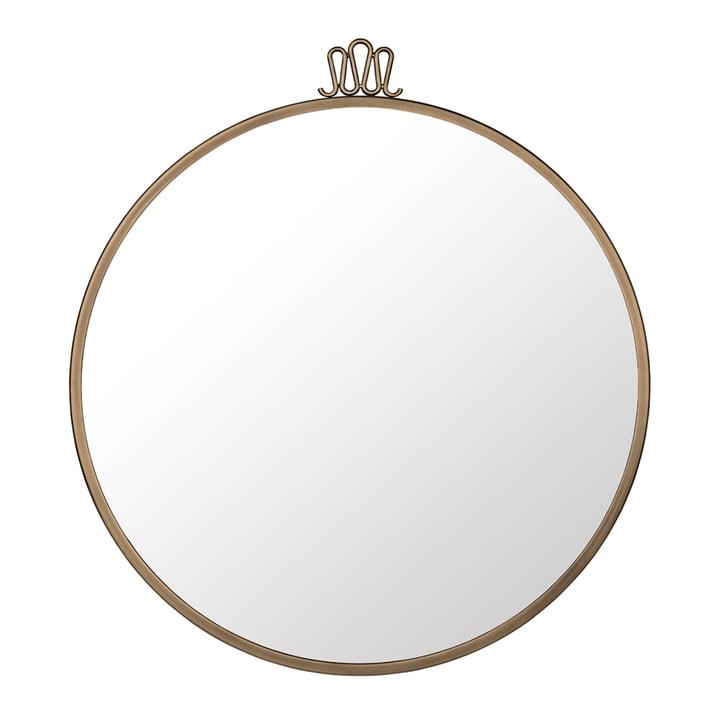 Randaccio Wall Mirror Ø 70 cm by Gubi in Vintage Brass