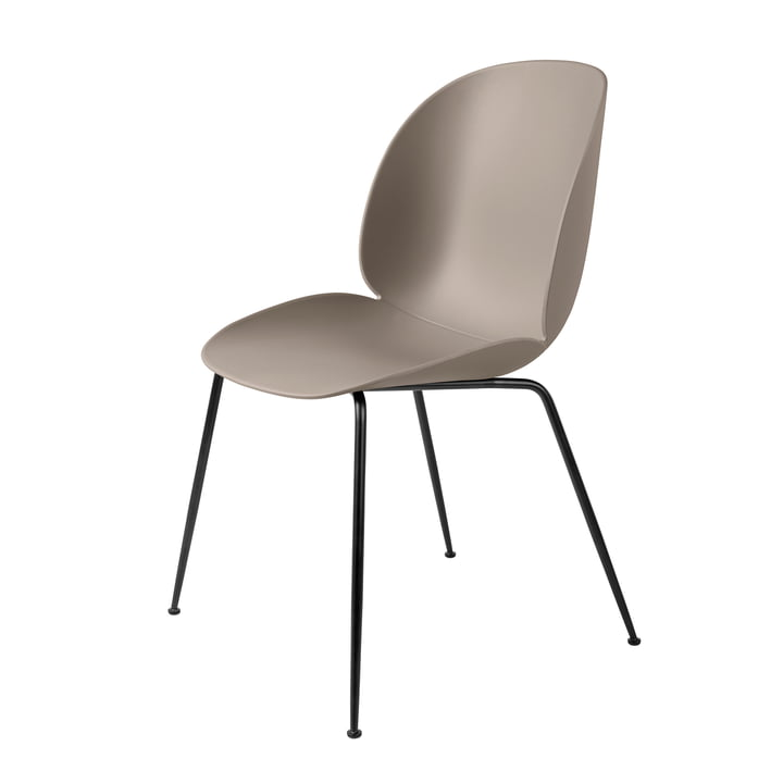 Beetle Dining Chair, Conic Base by Gubi in Black / New Beige