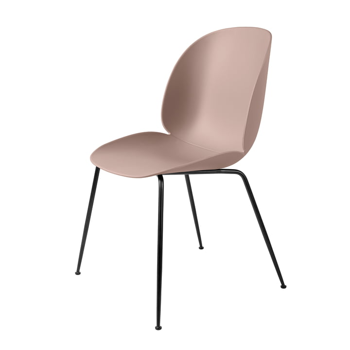 Beetle Dining Chair, Conic Base by Gubi in Black / Sweet Pink