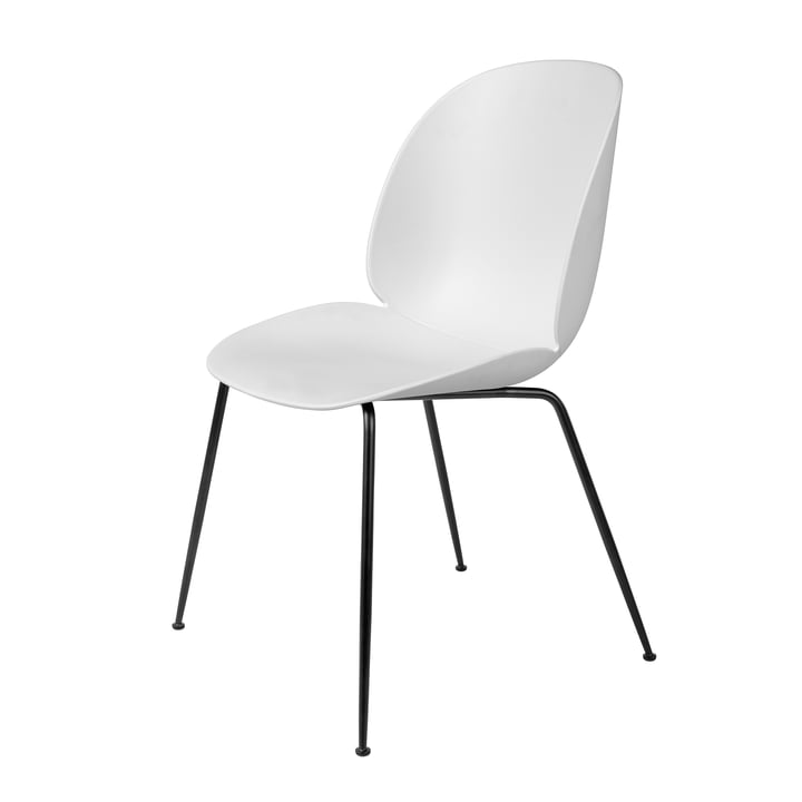 Beetle Dining Chair, Conic Base by Gubi in Black / White