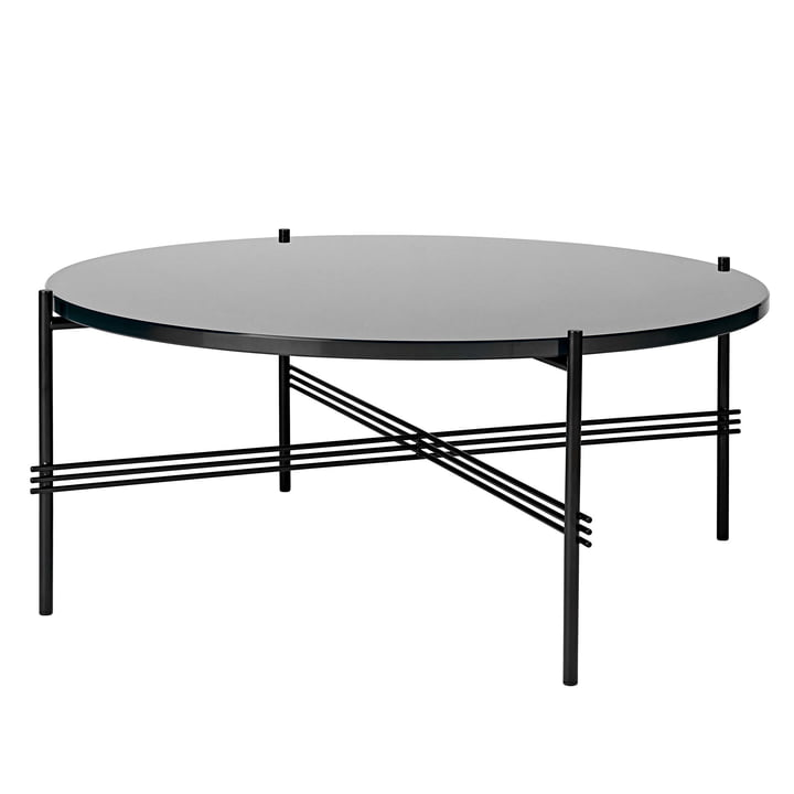 TS Coffee Table Ø 80 cm in Black / Black Glass