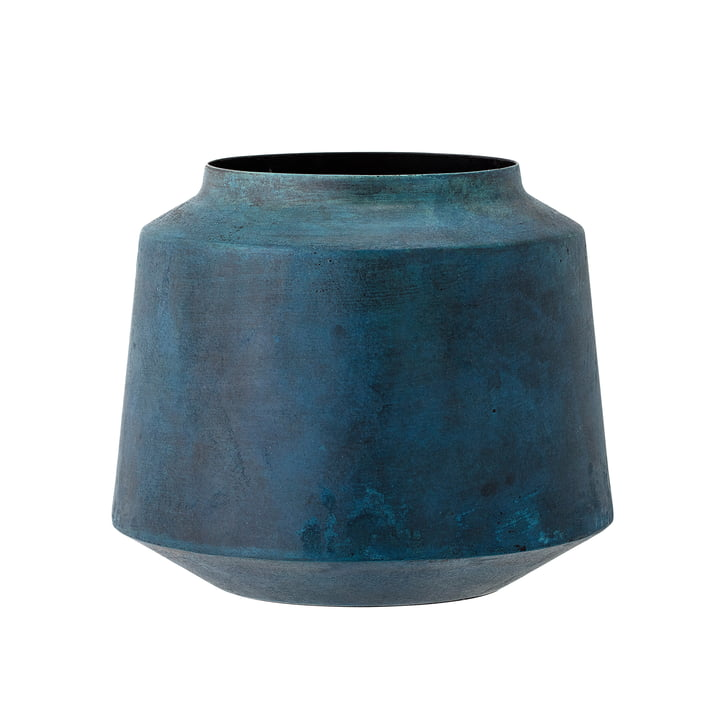 Bloomingville - Metal Vase, H 15 cm, blue