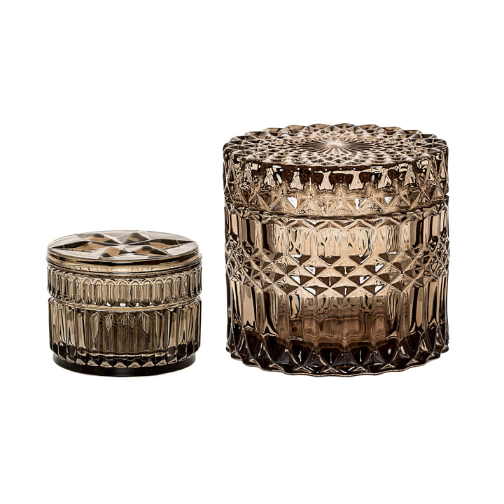 Bloomingville - Glass Storage Container (Set of 2), brown