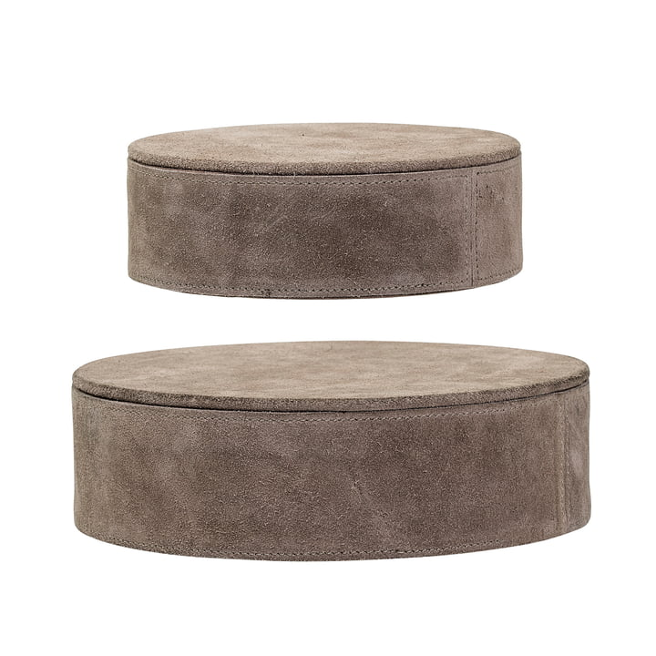 Suede Storage Boxes (set of 2) by Bloomingville in Brown
