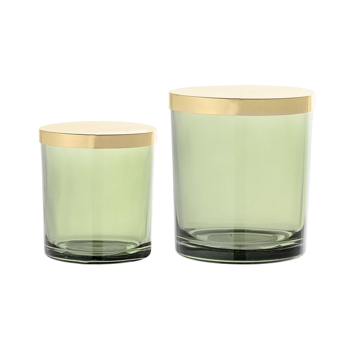 Bloomingville - Glass Storage Jar with Lid (Set of 2), green / gold